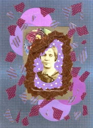 Mixed media collage created with a ruined vintage woman portrait.