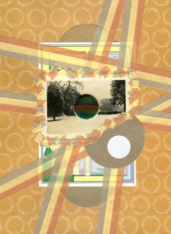 Mixed media collage created with a vintage landscape photo.