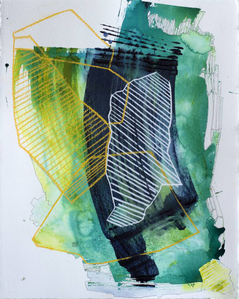 Yellow, green, white and black abstract composition.