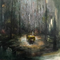 Paintings of a table in the middle of a forest.