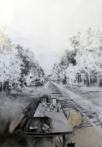 Drawing of a table placed on a train rail.