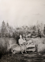 Drawing of 2 people sit on a bed in the middle of a forest.