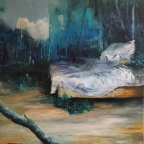 Painting of a bed in the middle of nature.