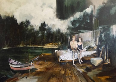 Paintings of a couple sit on a bed surrounded by nature.
