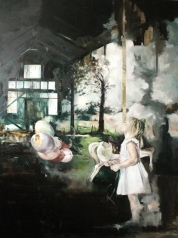 Paintings of a baby girl into a house with an open wall that faces into a natural landscape.