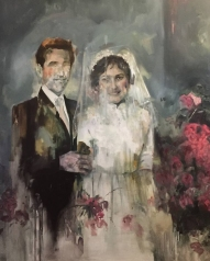 Paintings of a wedding couple.
