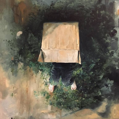 Paintings of a kid inside a cardboard box in the middle of nature.