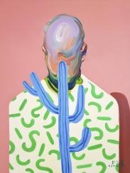 Defaced male portrait.