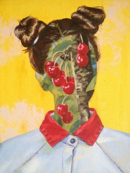 Cherries decoration over a female portrait face.