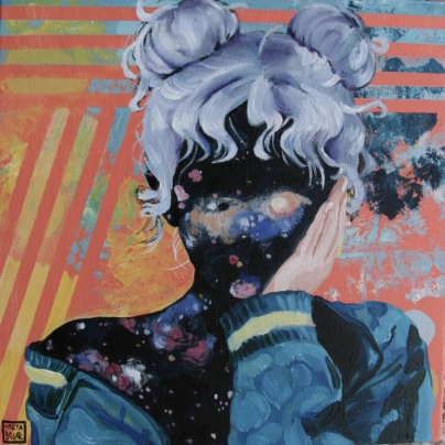 Space covering the face of a girl portrait.