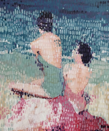 Portrait of two women in bath suit seen from their back.