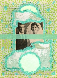 Mixed media collage created with a vintage married couple image.