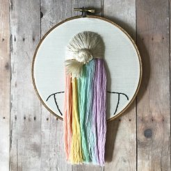 Still life photo of an hand embroidered back female head with rainbow hair.