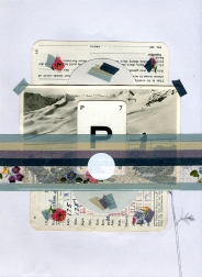 Mixed media collage created with a vintage mountain landscape photo.