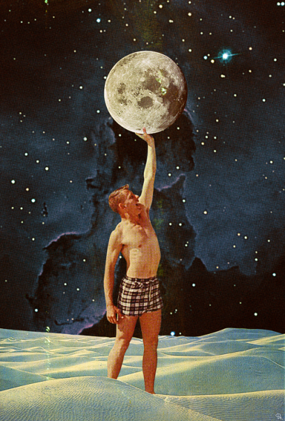 Man in bath suit touching a moon over him.