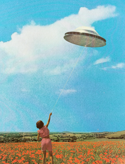 Woman holding an ufo kite.
