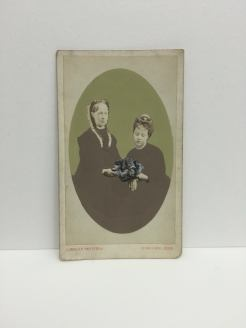 Still life photo of a vintage female couple portrait.