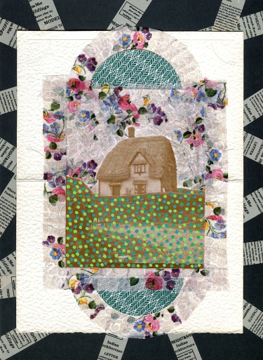 Mixed media collage created with a vintage photo of a house.
