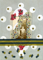 Mixed media collage created with a ruined vintage baby portrait.
