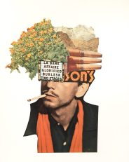 Man smoking a cigarette with the face covered with plants.