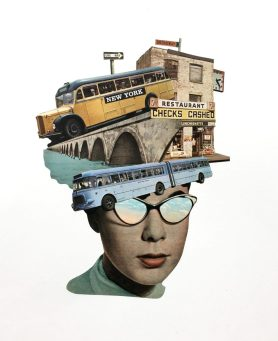 Woman with sunglasses with the head covered with buildings and buses.