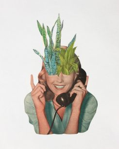 Woman at the telephone with plants coming out from her eyes.