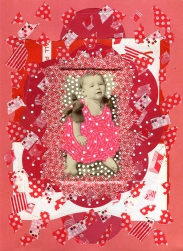 Mixed media collage created with a vintage baby portrait.