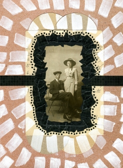 Mixed media collage created with a vintage couple portrait photo.