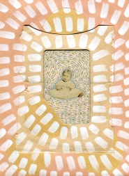 Mixed media collage created with a vintage ruined baby portrait photo.