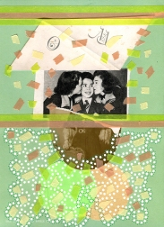 Mixed media collage created with a vintage picture of two girls kissing the cheeks of a young boy.