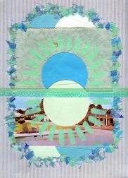 Mixed media collage created with a vintage landscape postcard.