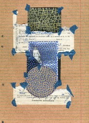 Mixed media collage created with a vintage ruined mother and son photo.