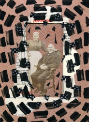Mixed media collage created with a ruined vintage couple portrait.