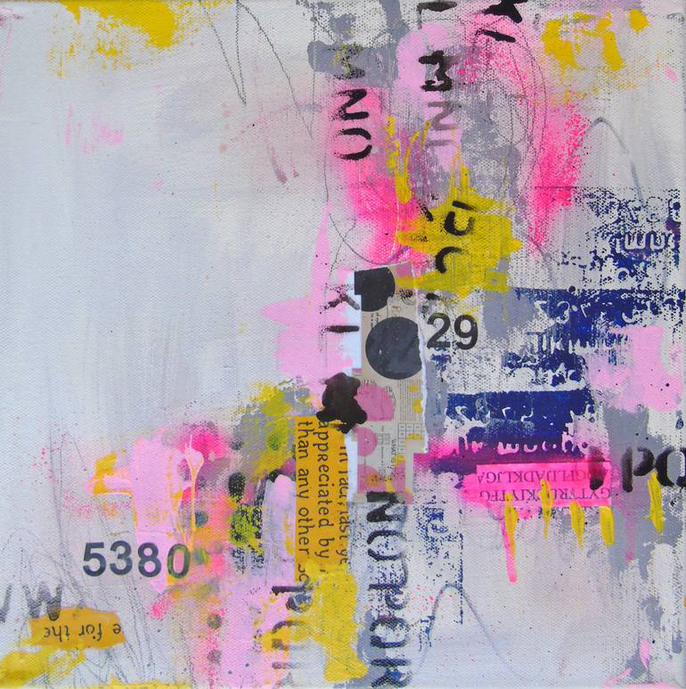 White, neon pink, blue, black and yellow abstract composition.