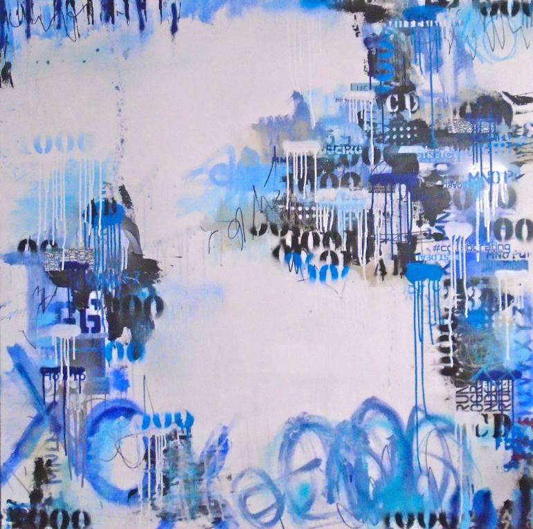 Black, blue and white abstract composition.