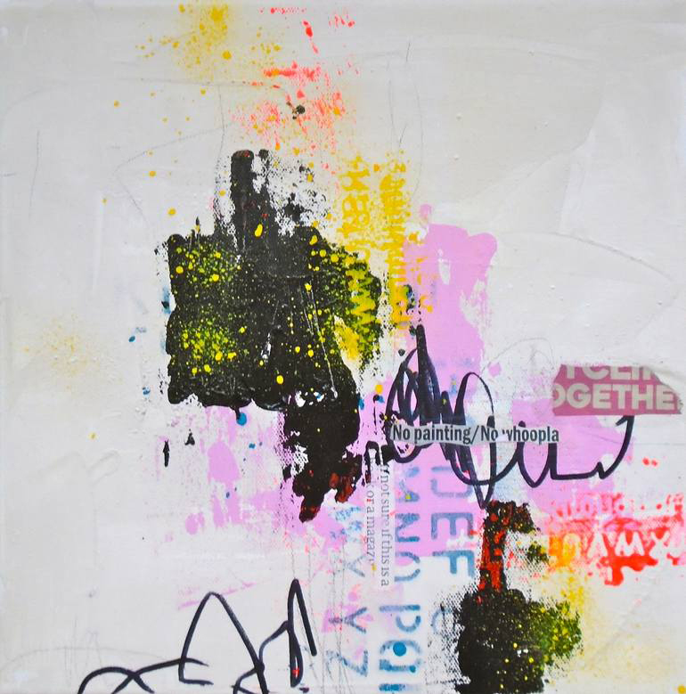 Yellow, pink and black abstract composition.