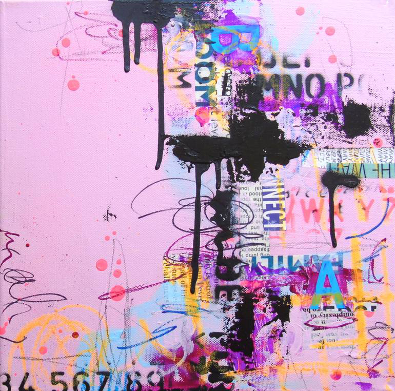 Pink, purple and black abstract composition.