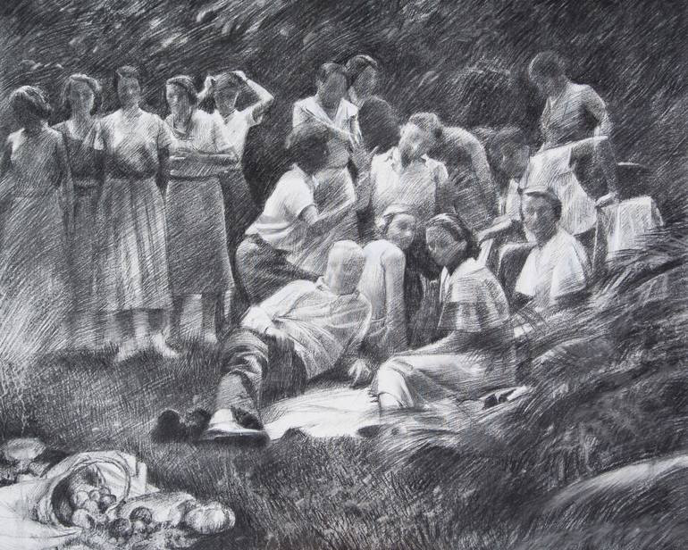 Group of people outdoors drawing.