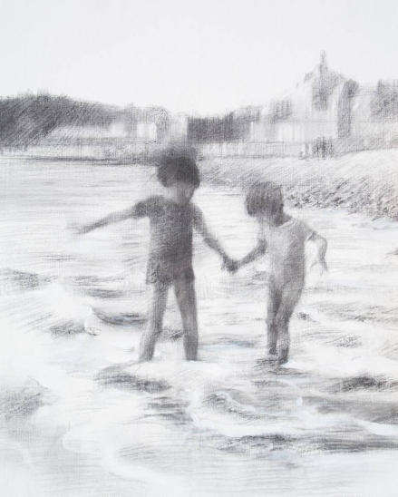 Two kids playing at the sea drawing.