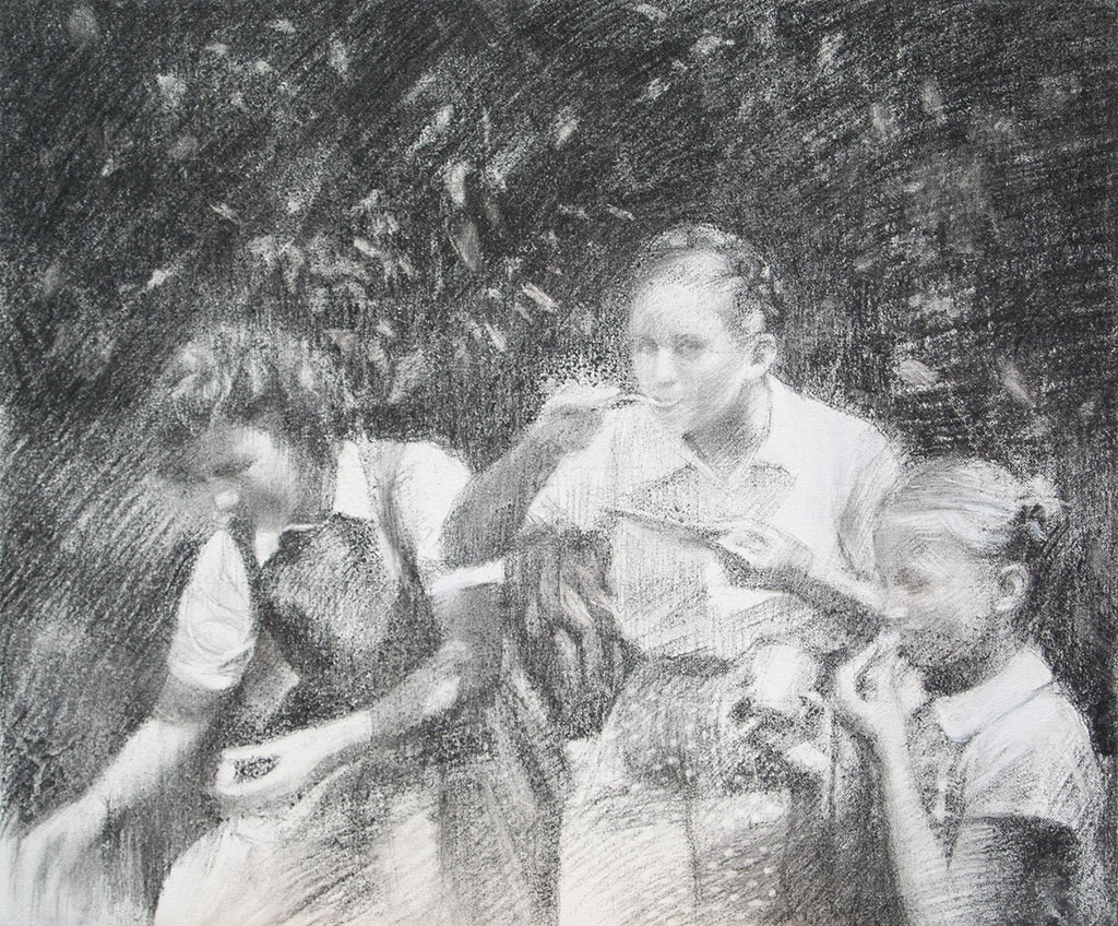 Gils eating outdoors drawing.