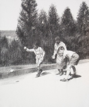 three kids playing bocce.