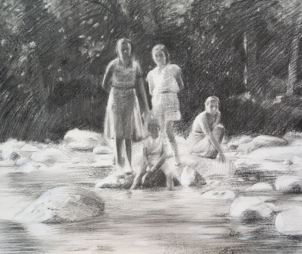 Group of women on the river portrait.