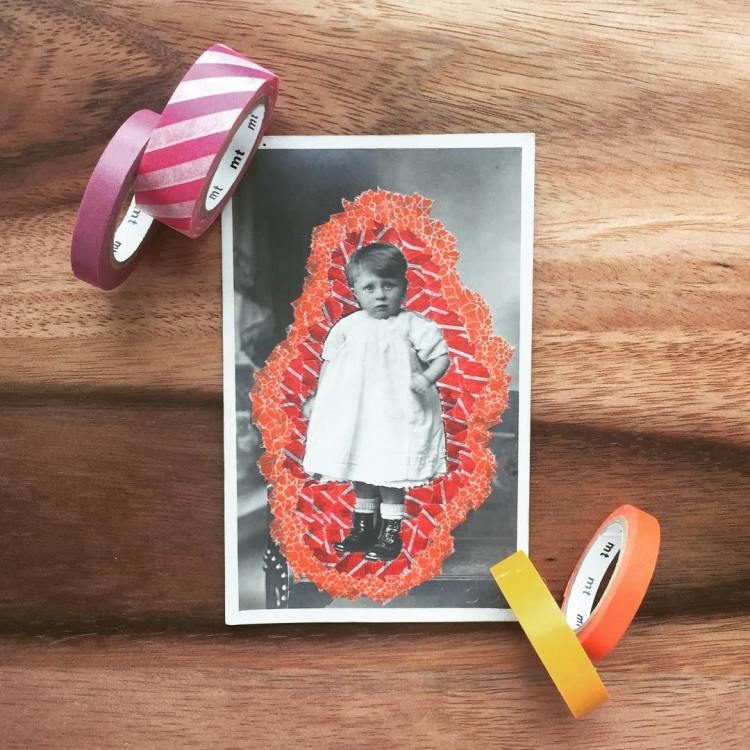 Still life photo of an altered vintage baby portrait over a wood background.