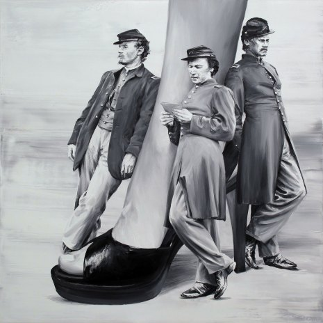 Three men laying around a giant woman leg.