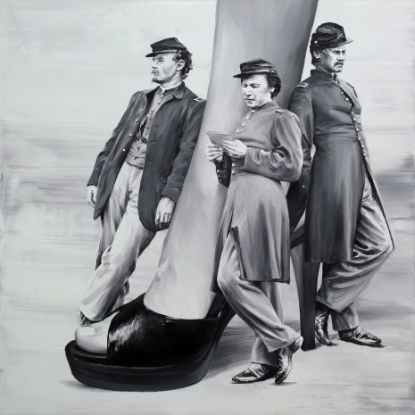 Three men laying around a giant woman leg.
