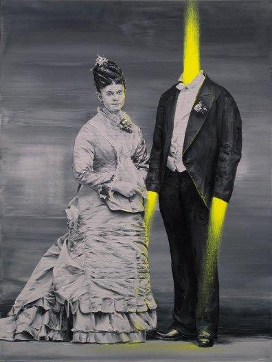 Vintage couple portrait with ah headless man.