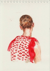 Female portrait seen from her back wearing a red blouse.