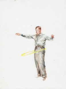 Man playing with the hula hop.