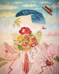 Defaced male portrait with a surreal flowers landscape inside his face.