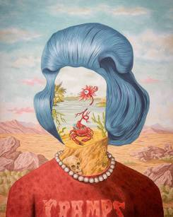 Defaced female portrait with a landscape inside her face.